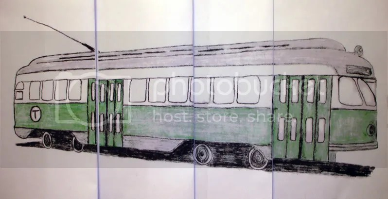 Beaded Boston MA Pullman Standard Green line trolley electric train car bead embroidery pop art sketch