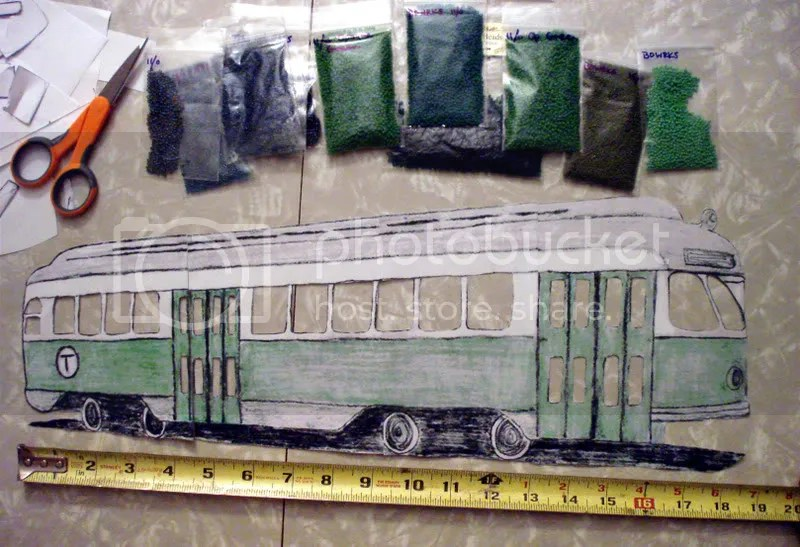 Beaded Boston MA Pullman Standard green line trolley electric train car bead embroidery pop art seed beads