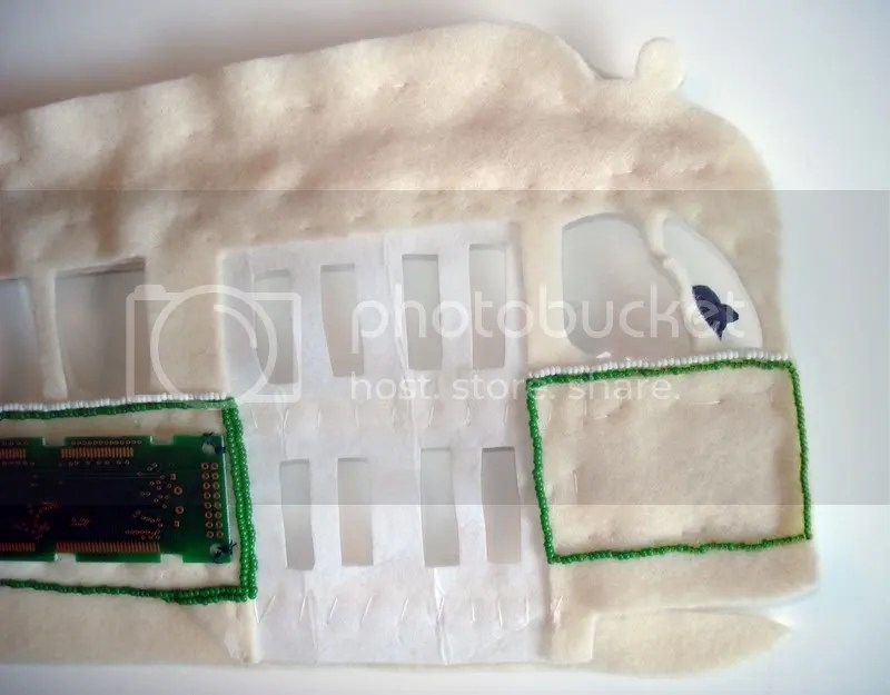Beaded Boston MA trolley T pullman pcc train car bead embroidery circuit board pop art seed beads