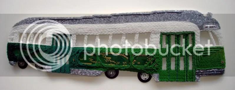 beaded Boston trolley PCC car pop art bead embroidery beading beadwork MA Kenmore Citgo