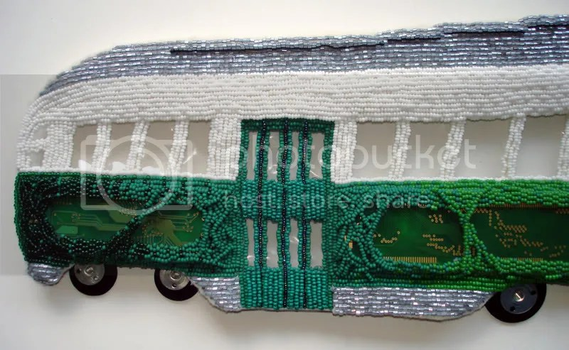 beaded Boston trolley PCC car pop art bead embroidery beading beadwork MA Kenmore Citgo