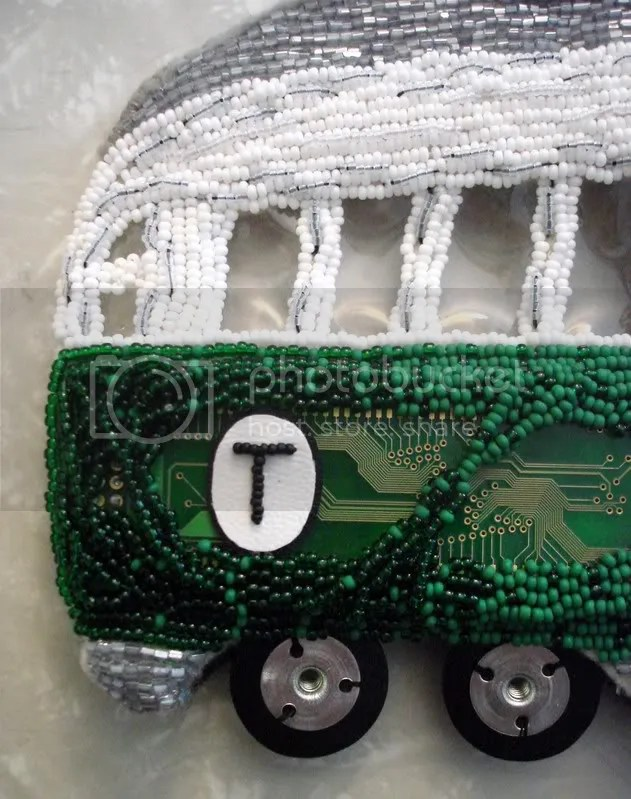 beaded boston trolley car T mbta bead embroidery 3D pop art beader seed beads felt mixed media