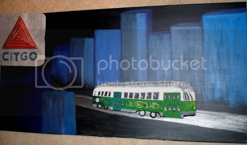 beaded boston trolley car citgo sign pop art embroidery artist kenmore sq. mighty mighty bosstones