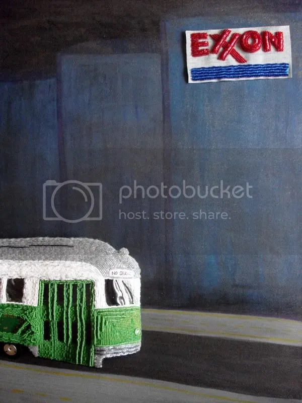 Beaded Boston trolley train MBTA T Exxon gas station Citgo sign bead embroidery pop art seed beads