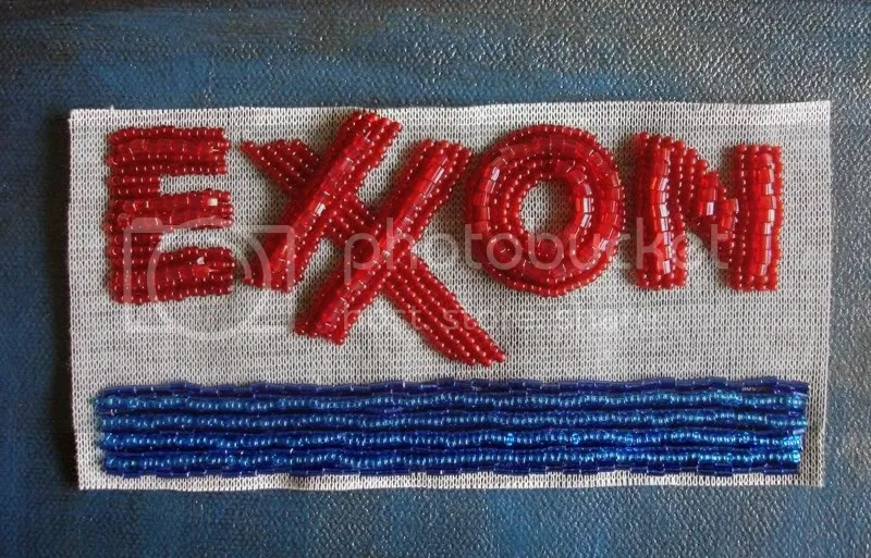 Beaded Boston trolley train MBTA T Exxon gas station Citgo sign bead embroidery pop art seed beads