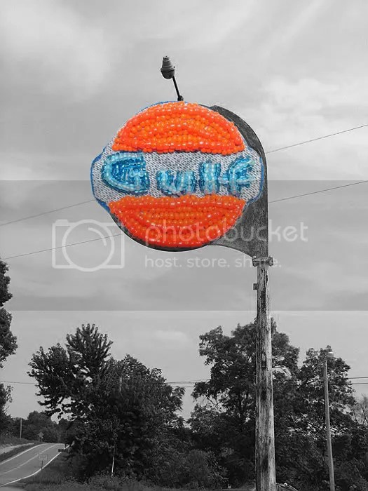 Beaded Boston trolley citgo gulf gas oil sign MBTA bead embroidery pop art beading