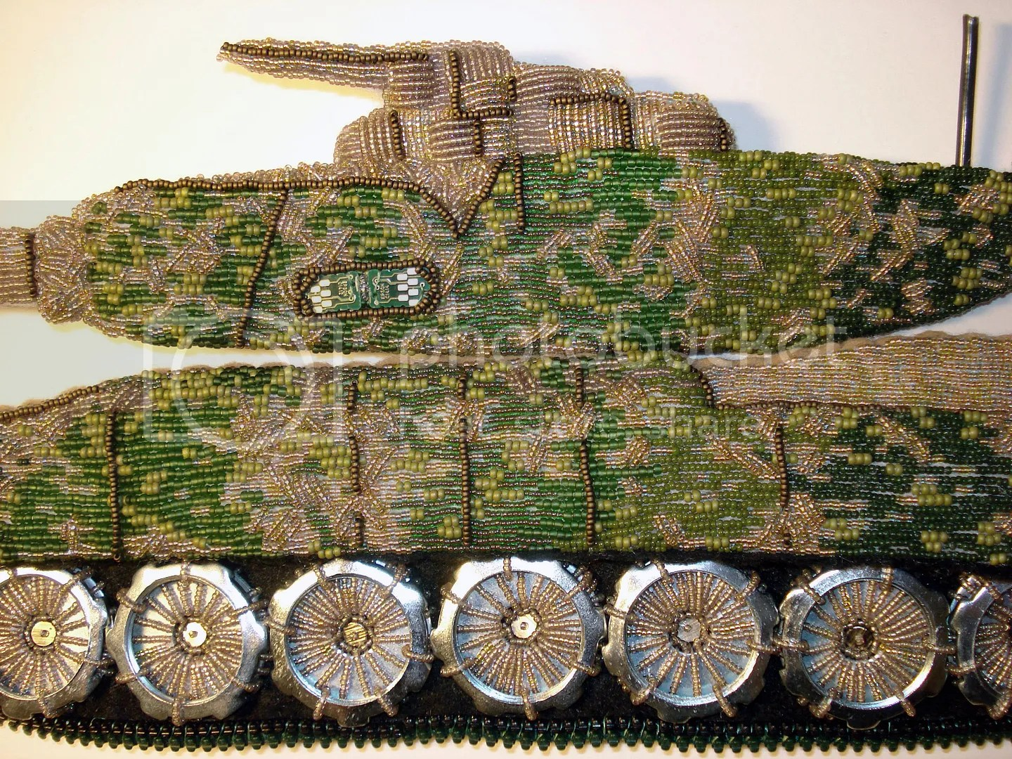 beaded camo camouflage print military Afghanistan U.S. pop art war bead embroidery