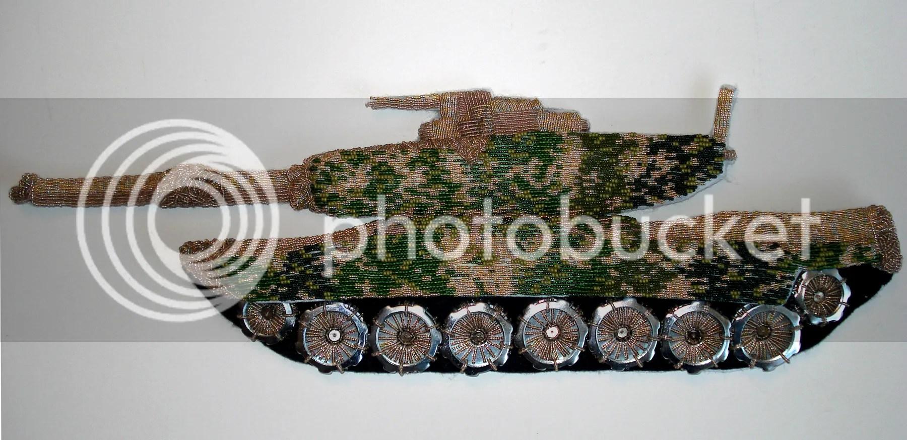 beaded camo camouflage print military Afghanistan Veteran's Day U.S. pop art war bead embroidery