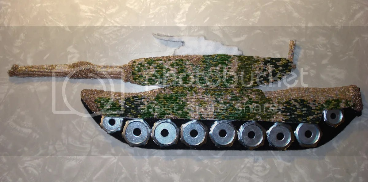 beaded camo camouflage print military m1 Abrams military tank Afghanistan Boston U.S. pop art war bead embroidery