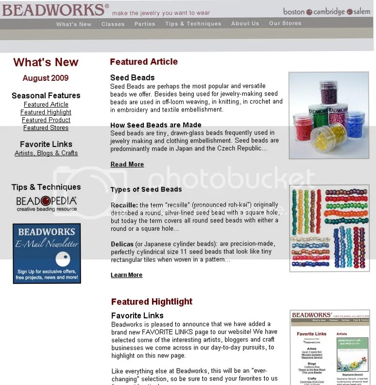 Beadworks Boston Cambridge Salem bead shops The Lone Beader artist seed beads featured newsletter