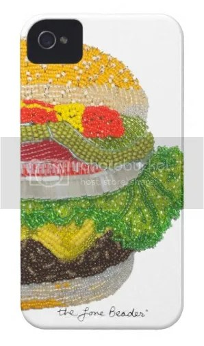 beaded cheeseburger iPhone 4 5 case on Zazzle etsy bead embroidery mobile app