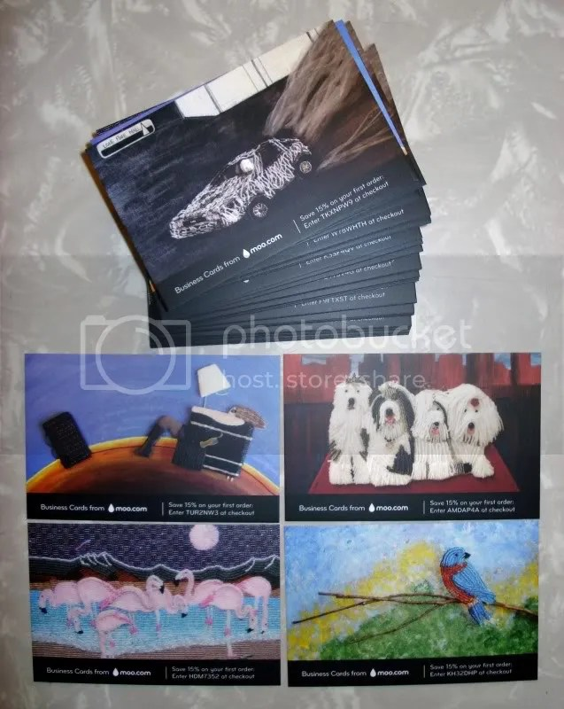 Beaded business cards MOO UK USA bead embroidery bead paintings mini art cards boston artist the lone beader