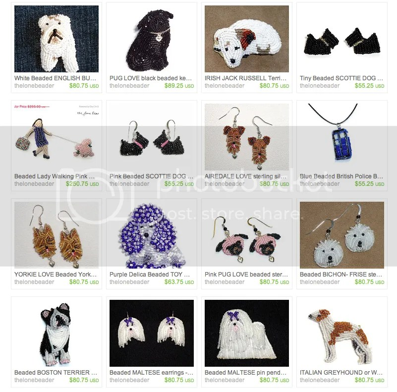 the Lone Beader 15% off New Year Sale on Etsy beadwork dog jewelry bead embroidery beads AKC dogs pets horses birds