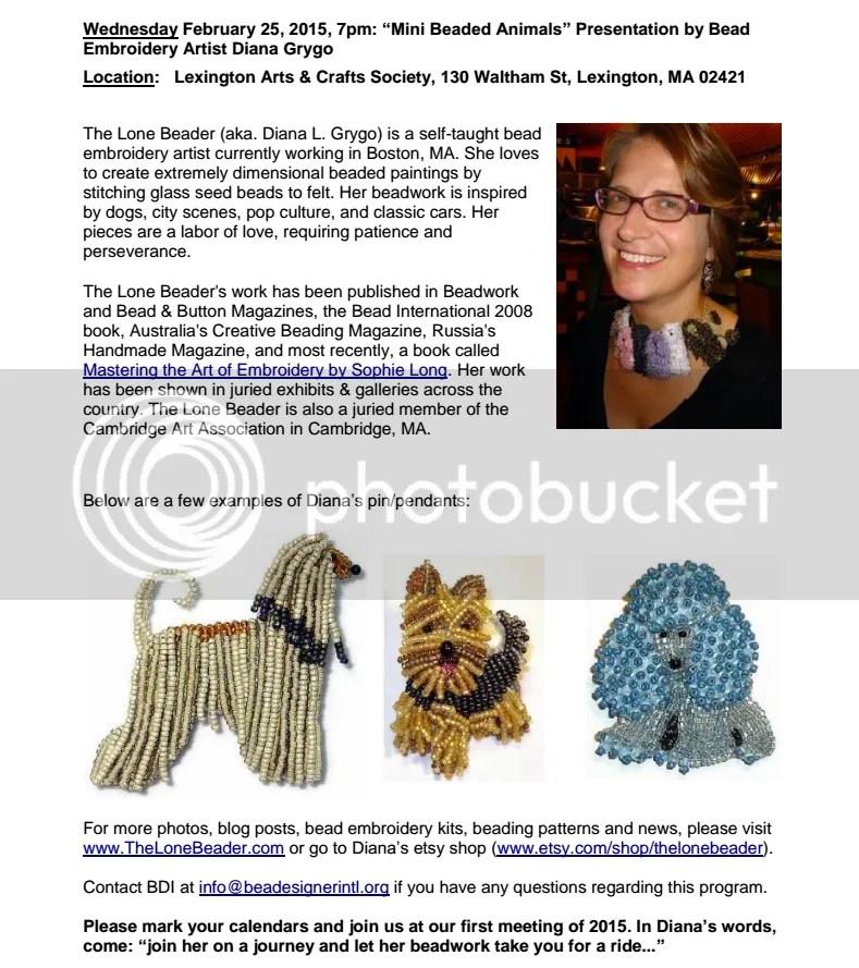 The Lone Beader Beadesigner International New England Bead Society Boston Etsy artist