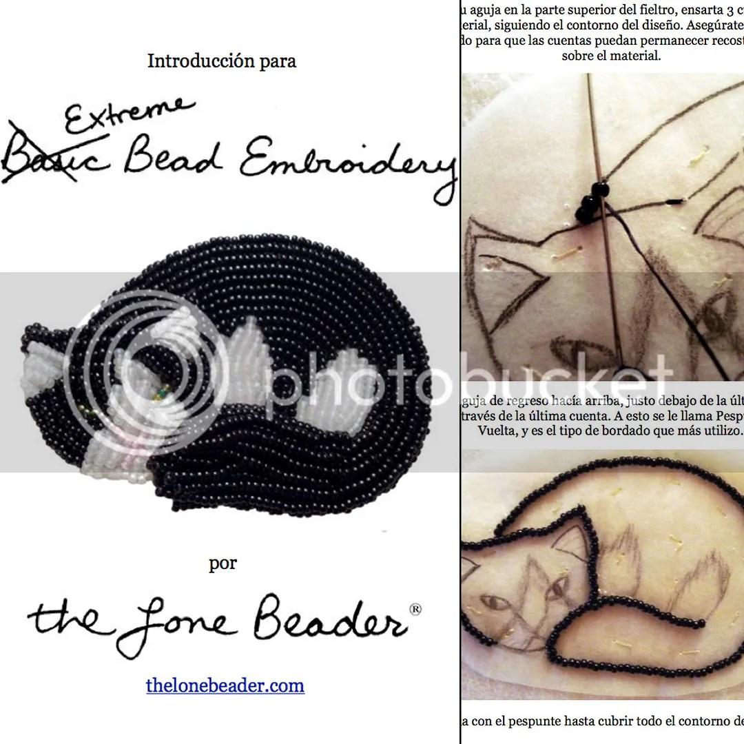 Tutorial de Introducción a Básico Bordados con Cuentas - Prendedor de Gato Beading Patrón en español Etsy Extraordinarios Bordados