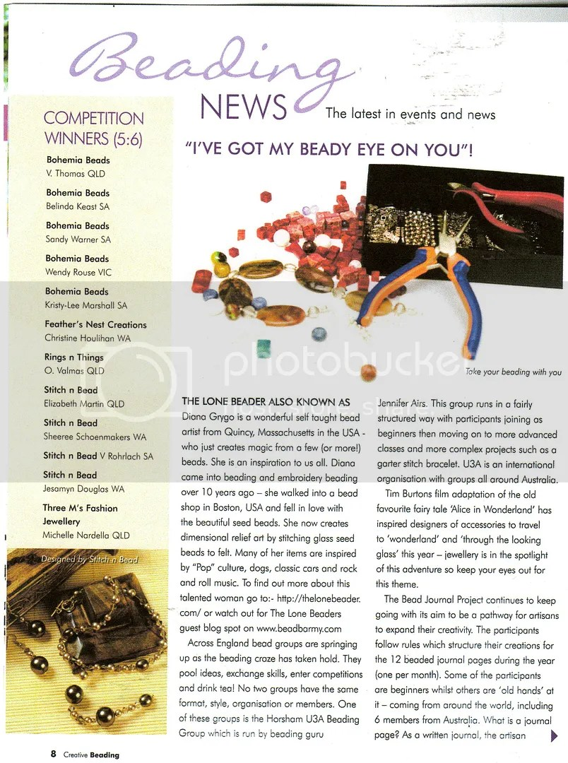 Australia Creative Beading Magazine The Lone Beader bead embroidery artist featured article Boston bead art