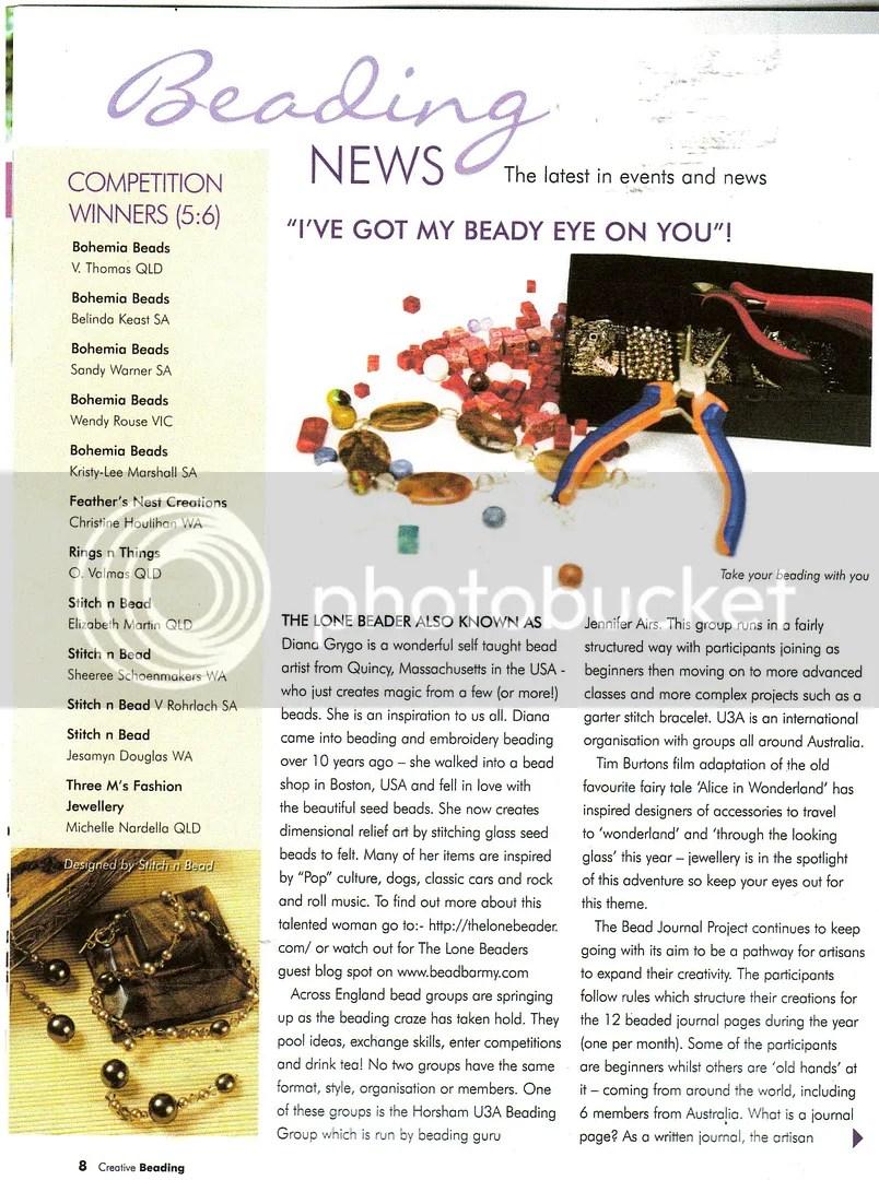 Australia Creative Beading Magazine The Lone Beader bead embroidery artist featured article Boston bead art