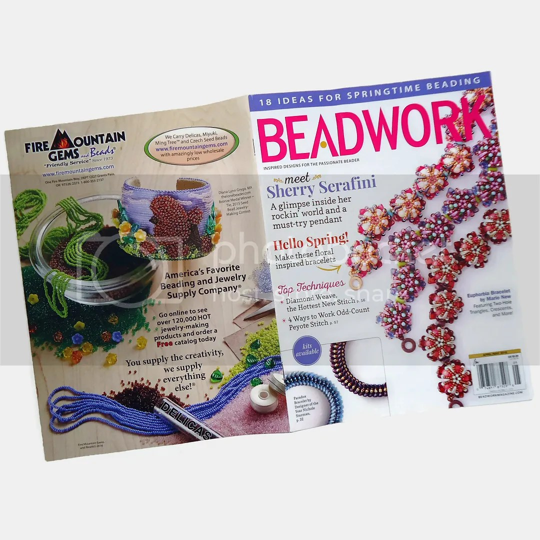 Fire Mountain Gems Beading Contest Beadwork Magazine Back Cover Ad Poodle Cuff Bracelet