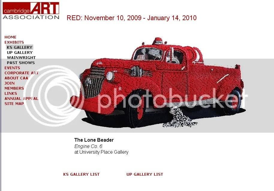 beaded fire truck bead embroidery pop art Cambridge Art Association RED carl Belz boston artist lone beader