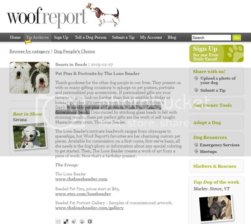 Woof Report The Lone Beader Etsy featured artist beaded dogs pet portraits wearable fine art