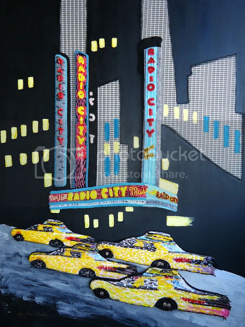 Radio City Music Hall NYC beaded painting bead embroidery glass seed beads acrylic