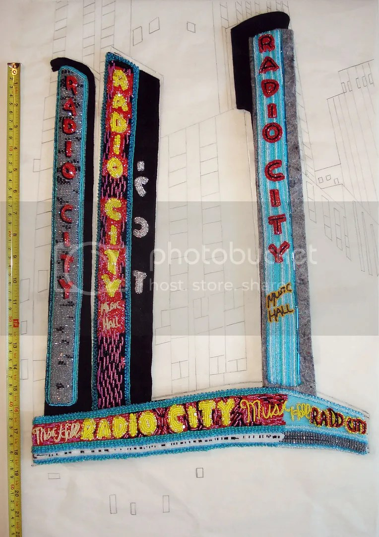 Beaded Radio City Music Hall NYC bead embroidery painting