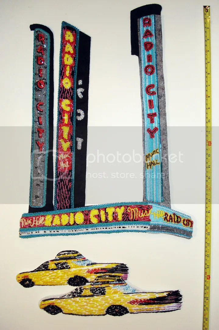 Beaded NYC street scene bead embroidery art beadwork taxi cab painting