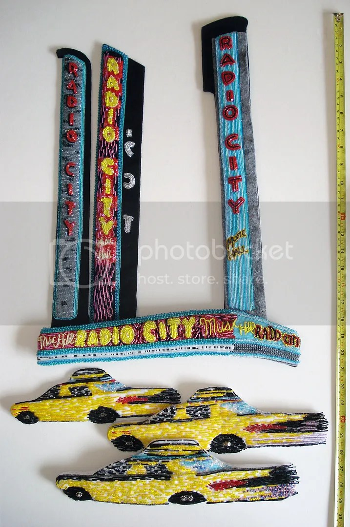 Beaded Radio City Music Hall mixed media NYC street scene beadwork painting