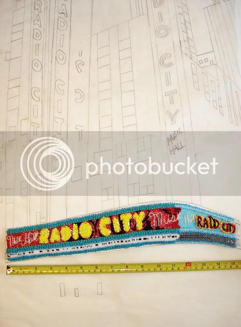 beaded Radio City Music Hall painting bead embroidery artist NYC street scene taxi