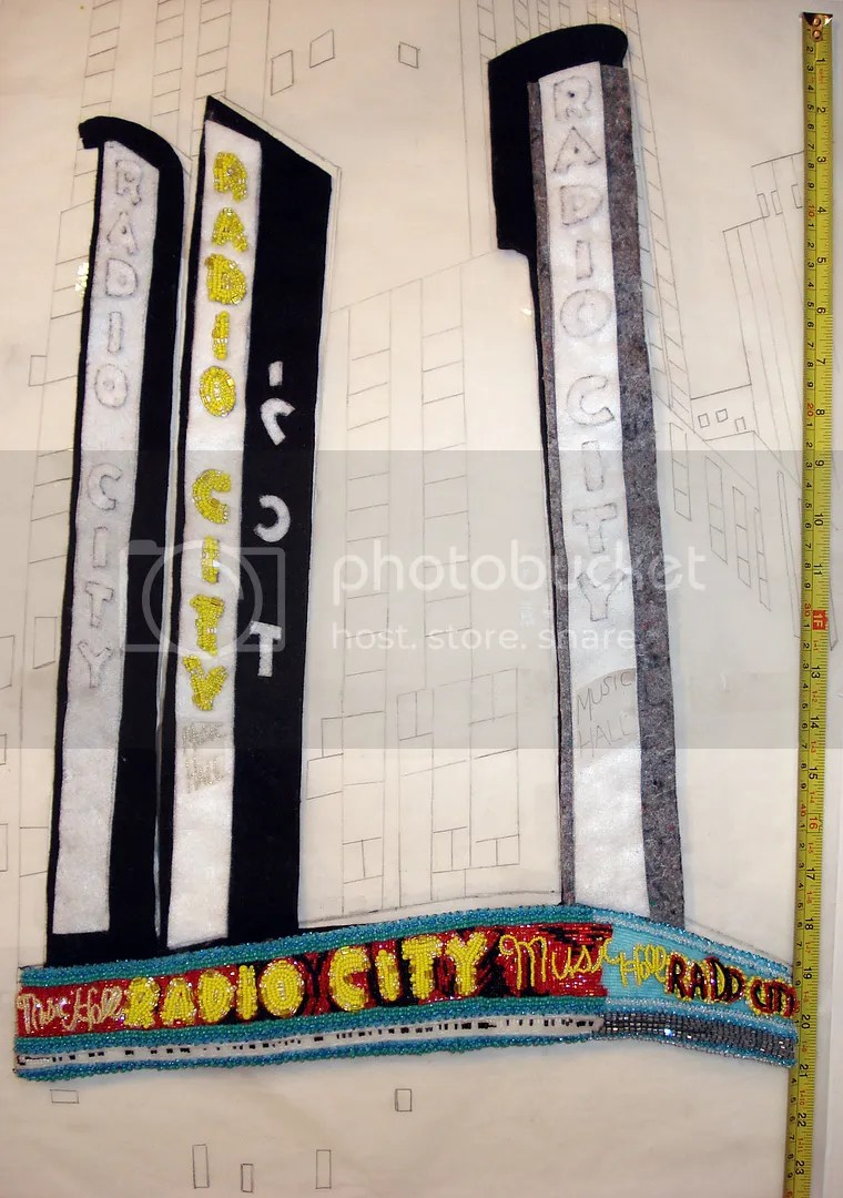beaded radio city music hall painting beadwork mixed media art NYC taxi cab street scene theatre marquee