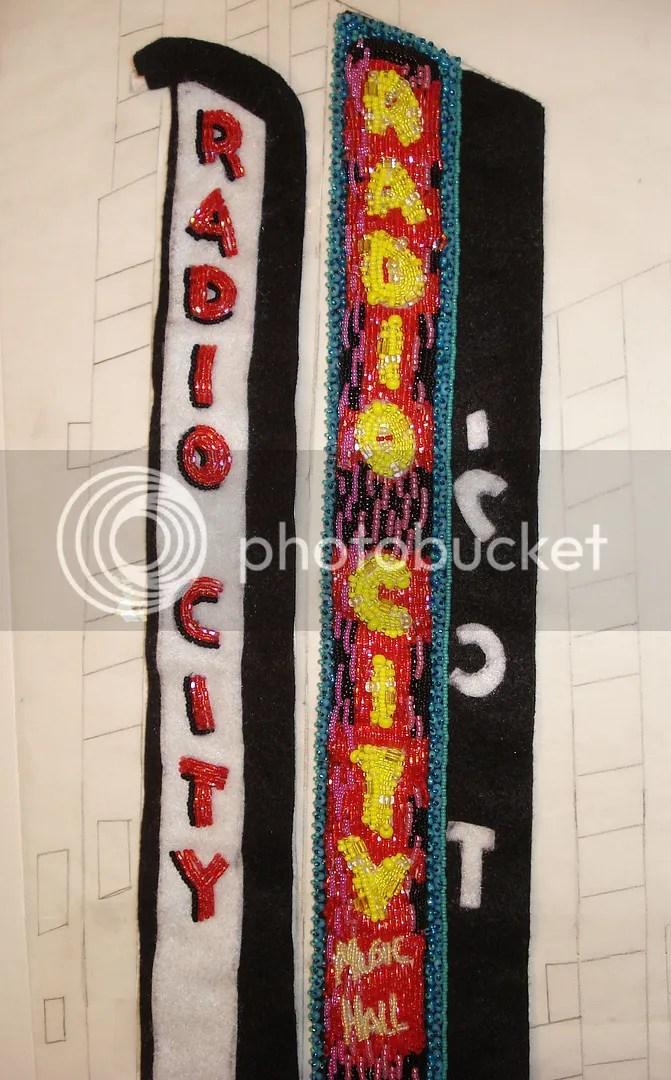 beaded Radio City Music Hall mixed media painting bead embroidery beadwork NYC theatre street scene