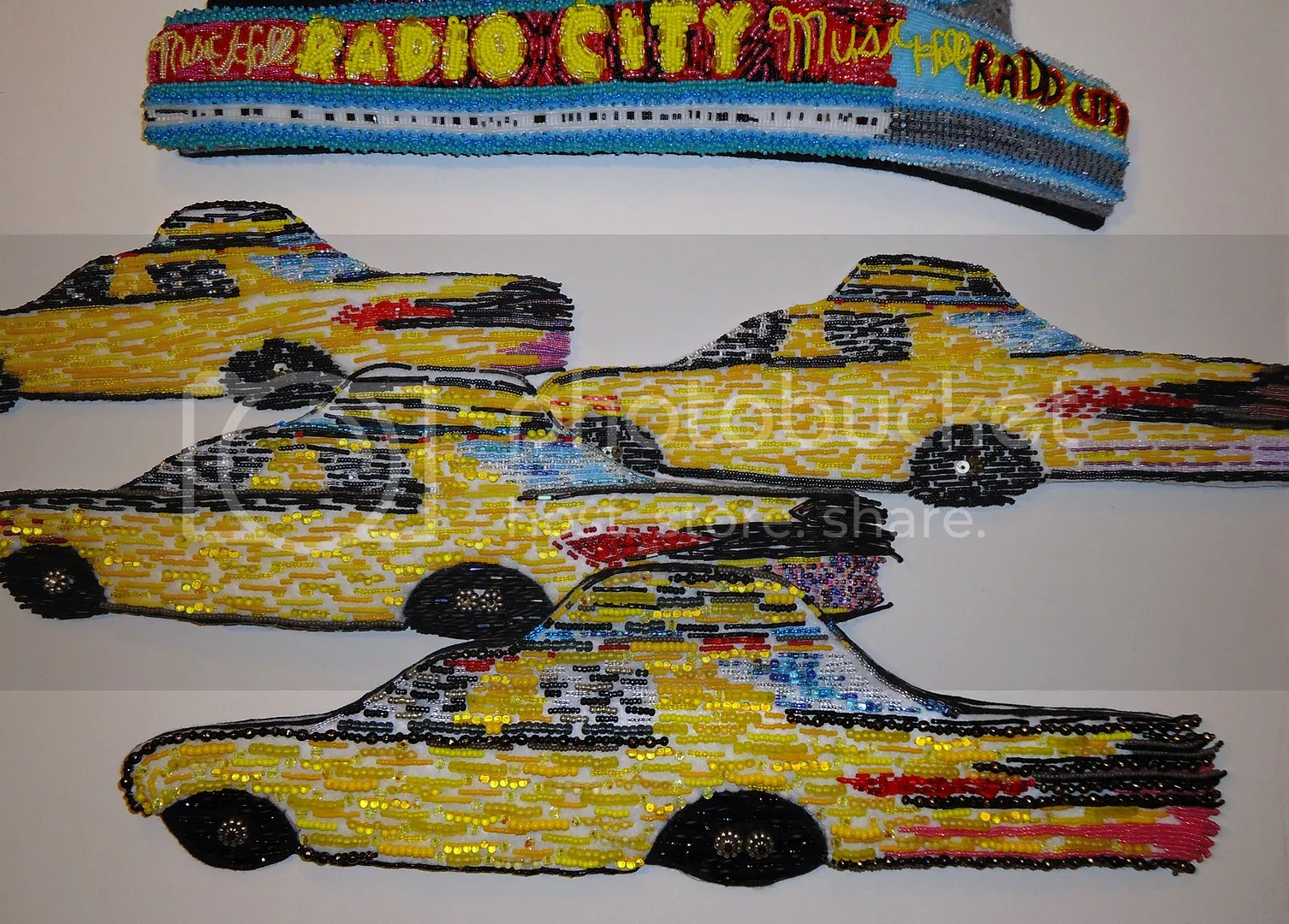 Beaded Yellow NYC taxi cab fiber art New York City mixed media painting