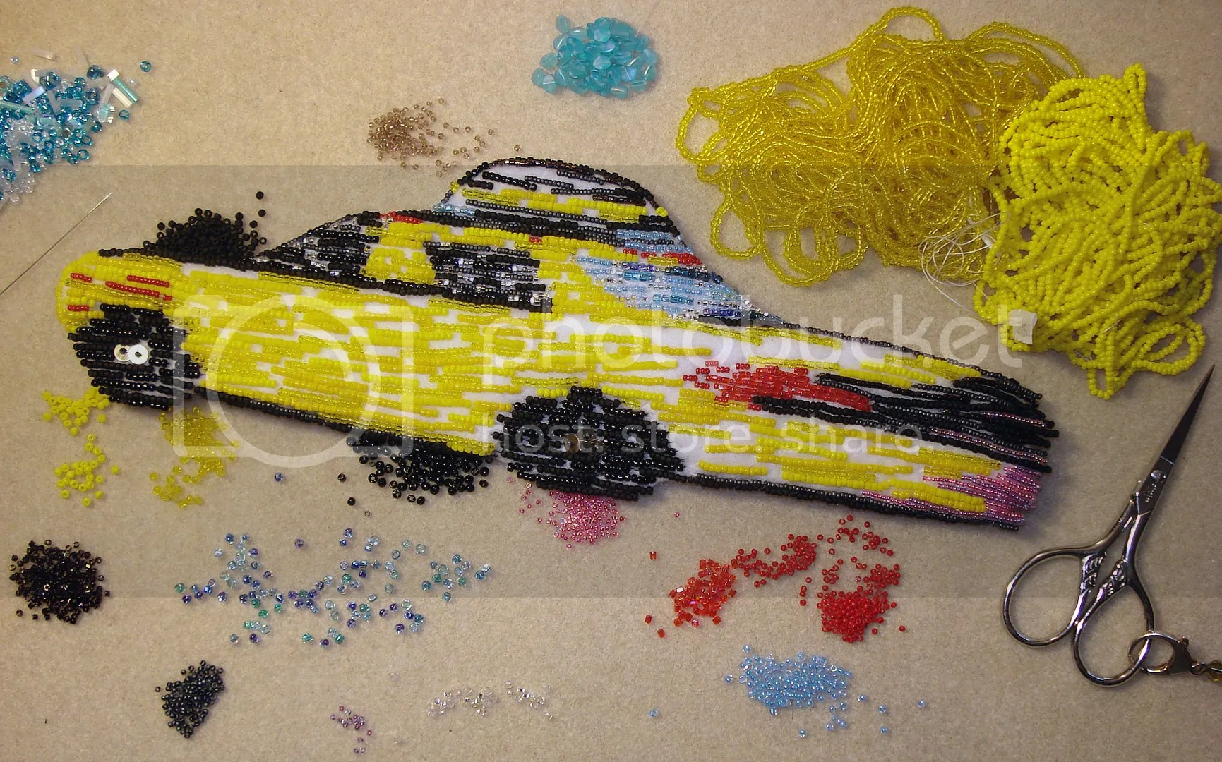 beaded NYC taxi cab bead embroidery art car