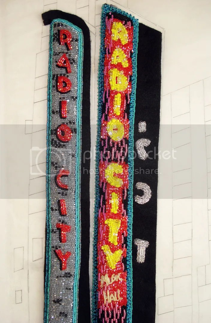 Beaded Radio City Music Hall signs NYC bead embroidery painting