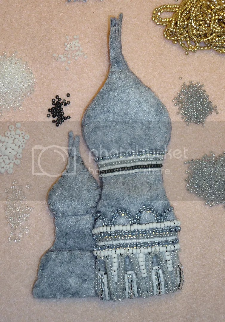 beaded Russian Cathedral felt painting bead embroidery beadwork etsy art