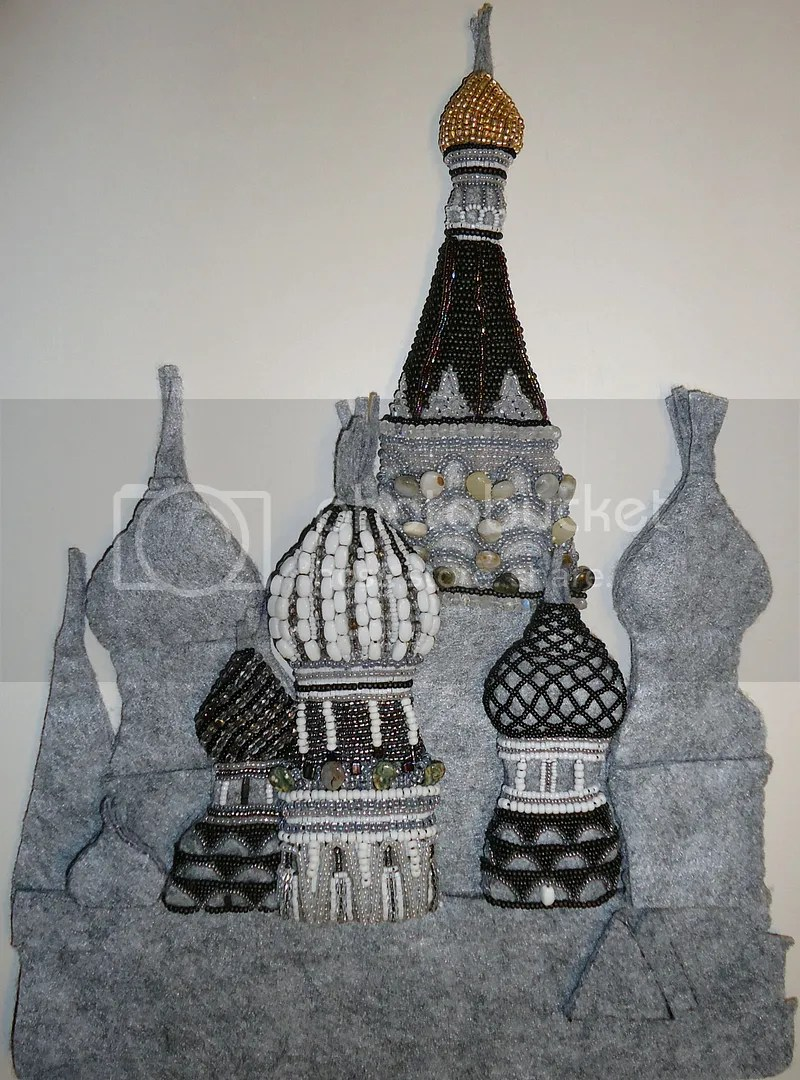 Bead embroidery St Basil's Cathedral Russian beadwork beaded contemporary art progress