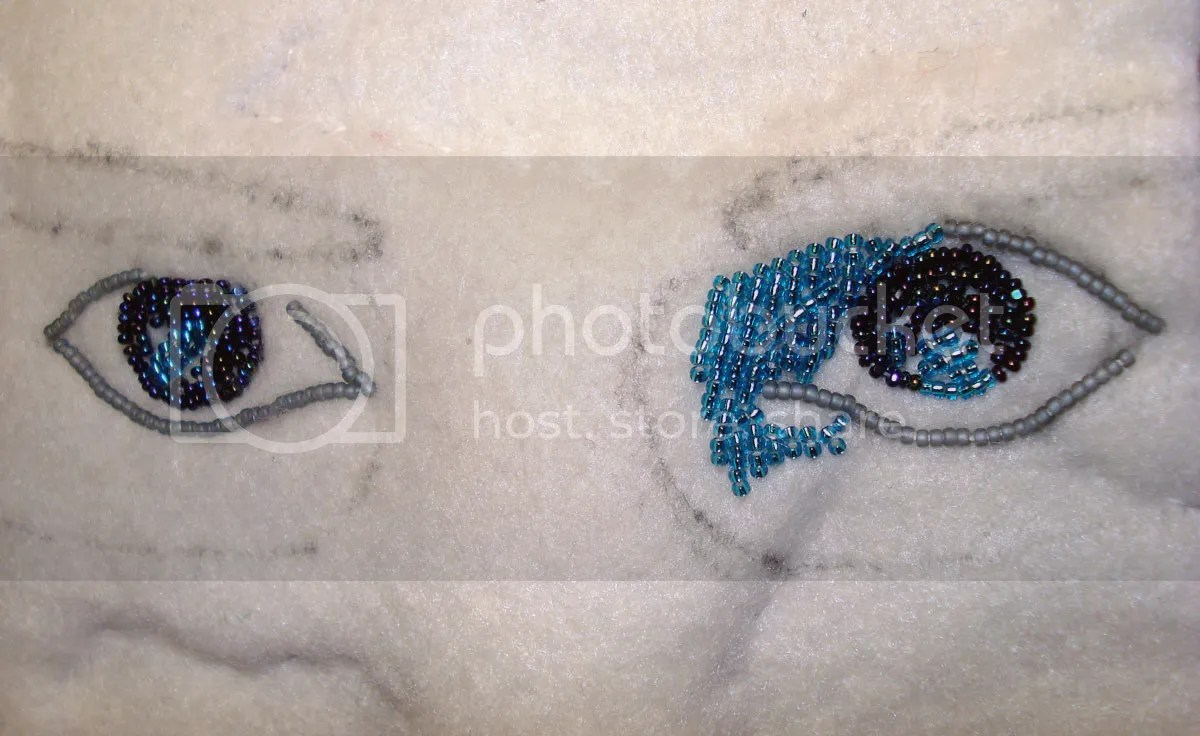 beaded self portrait beadwork thelonebeader recycled eye glass lenses fiber art beads