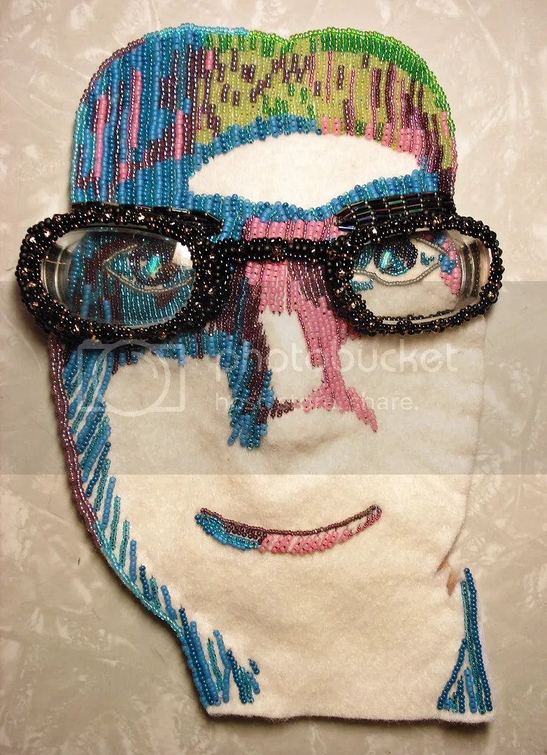 beadwork self portrait beaded painting eyeglasses Lafont pop art thelonebeader Boston artist