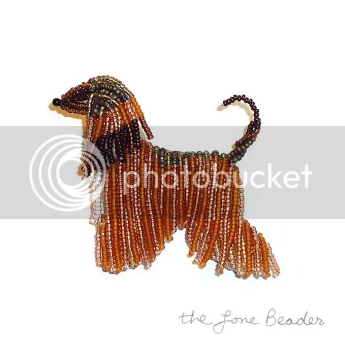 custom beaded Afghan Hound pin pendant apricot beadwork bead embroidery etsy artist