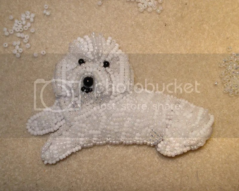 beaded Bichon Terrier bead embroidery artist Boston etsy pin pendant beading blog