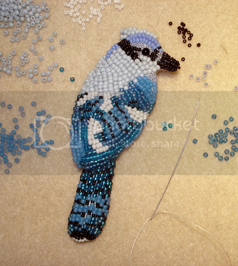 beaded Blue Jay audubon society bead embroidery Lone Beader beadwork painting exhibits shows art inventory