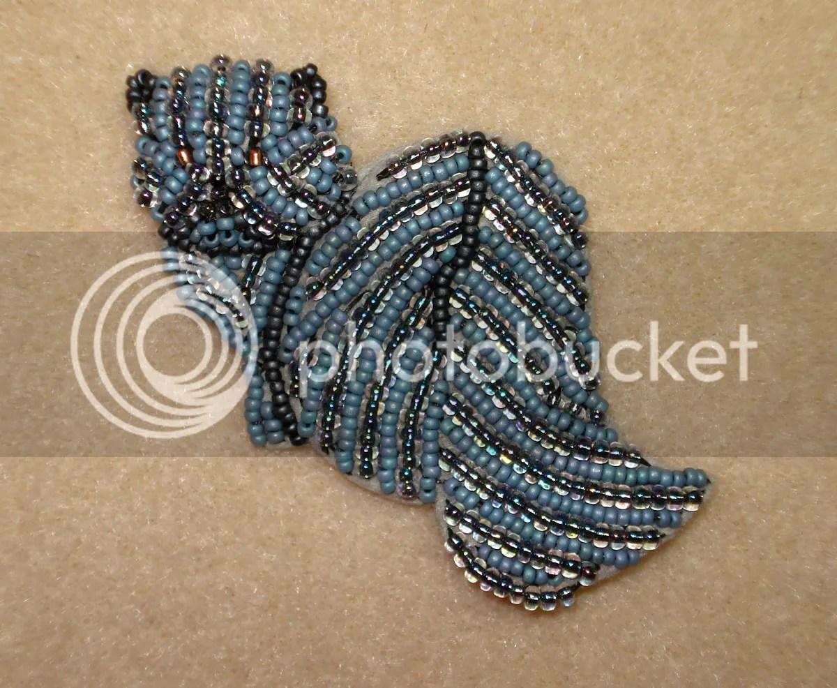 Rare Blue beaded Persian Cat pin Bead embroidery Etsy beadwork