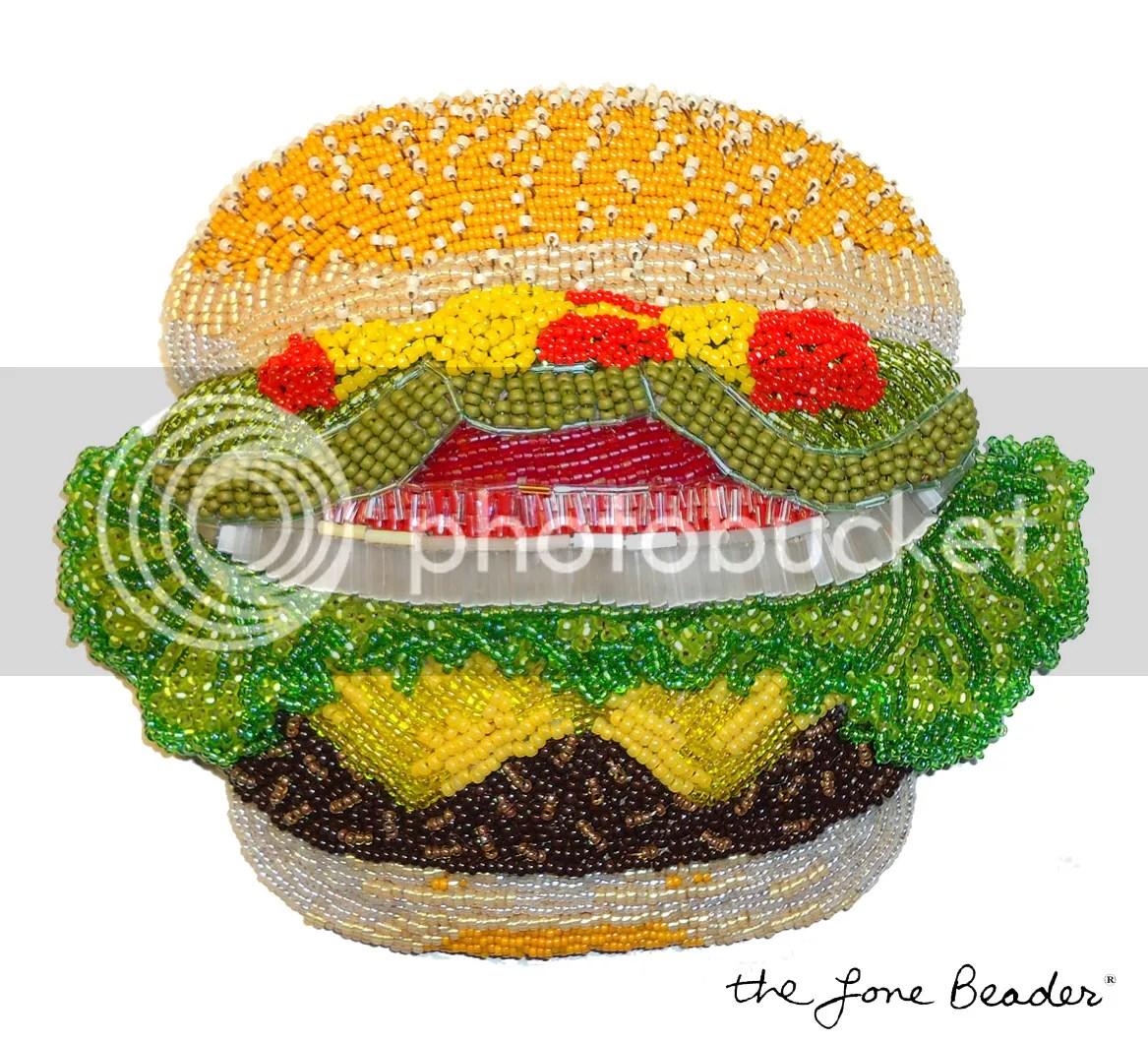 beaded burger king hamburger cheeseburger big mac veggie bead embroidery beadwork