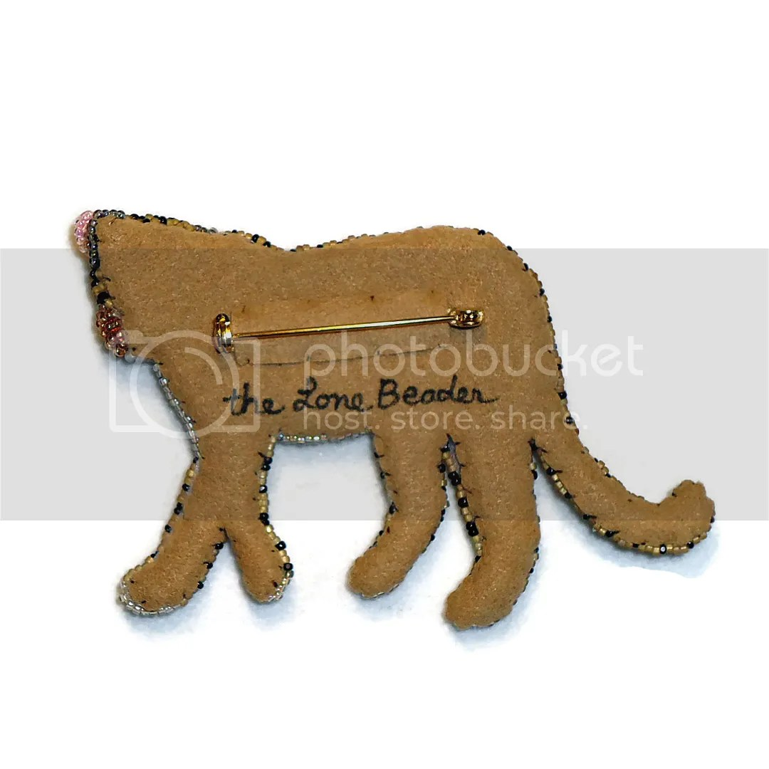 Beaded Leopard pin back brooch Etsy Amazon Handmade cat jewelry bead embroidery seed beads Ultrasuede