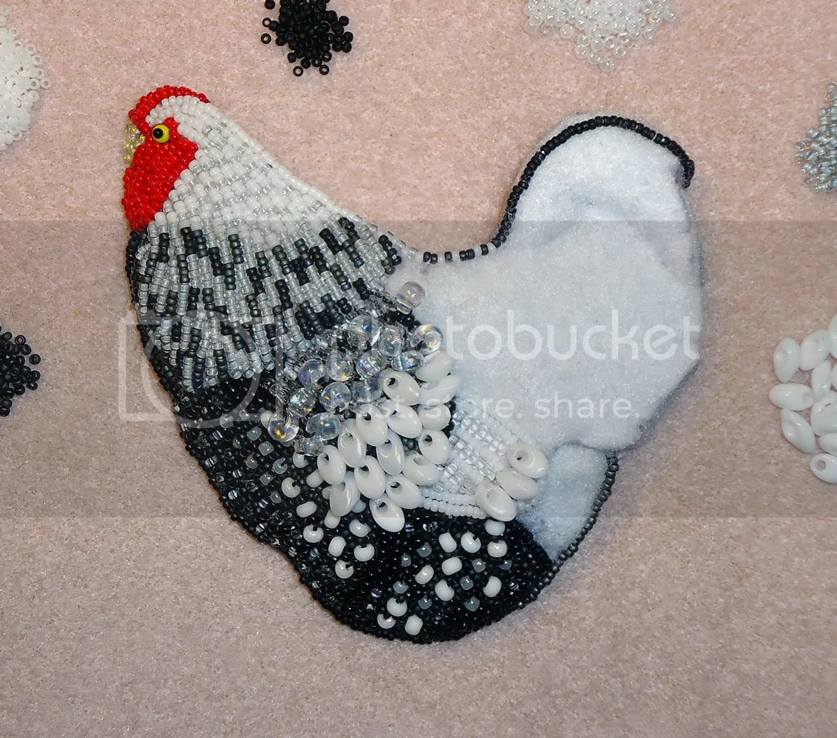 beaded Wyandotte rooster hen bead embroidery beadwork magatama beads etsy