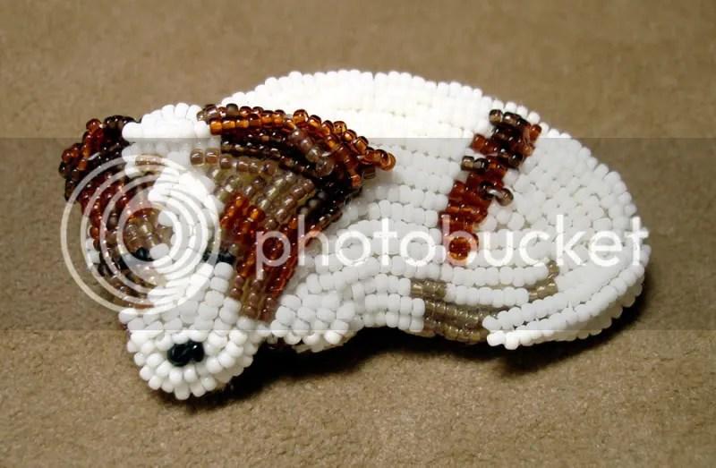 beaded Irish Jack Russell Terrier bead embroidery pet portrait fine art pin Etsy