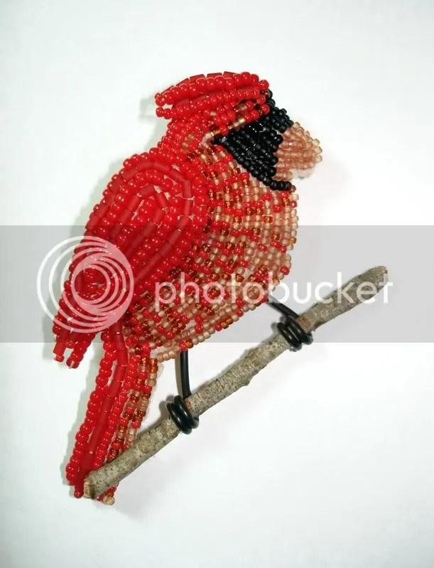 beaded winter cardinal wearable fine art pin etsy Boston bead artist