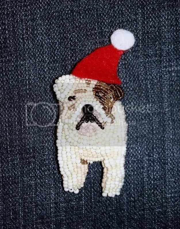 beaded English bulldog dog wearable fine art pin etsy Boston bead artist scrooge bah humbug
