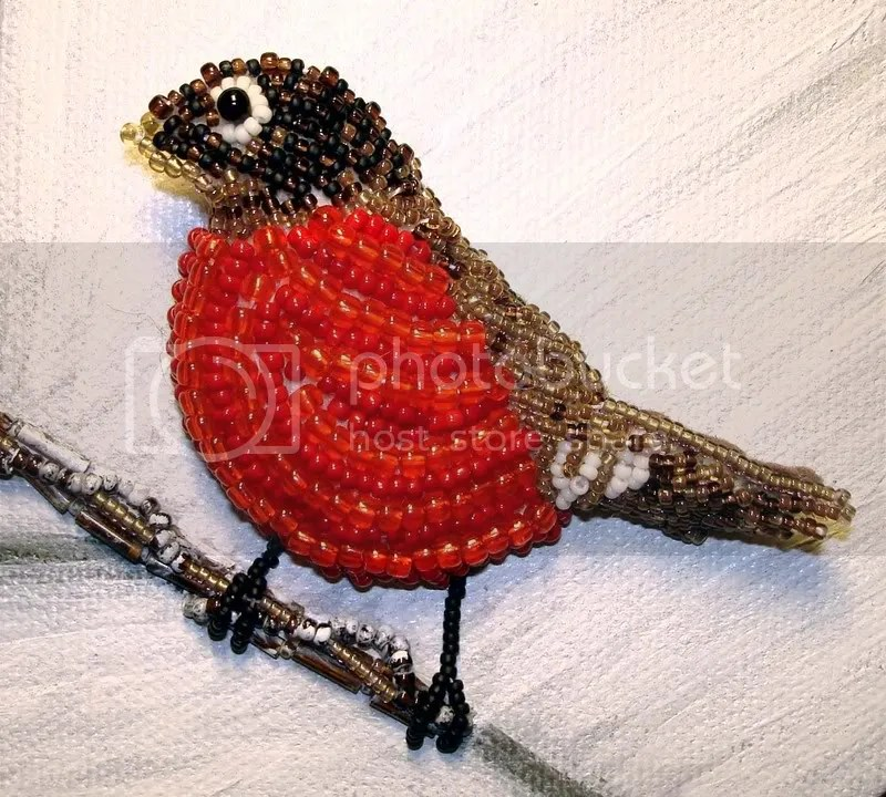 beaded American red robin Audubon bird painting bead embroidery Boston artist