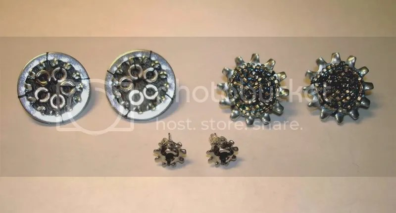 beaded bead embroidery earrings sun flower starburst nuts washers motorcycle wheels=
